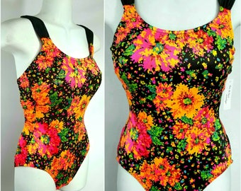 80s Hipster Swimsuit Bright Neon Splatter Flowers Criss Cross Back by Mainstream Sz S/M
