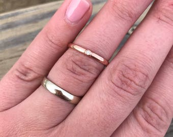 Diamond 14k Rose Gold Engagement Wedding Ring Sterling Silver Band Minimalist Simple Engagement Ring