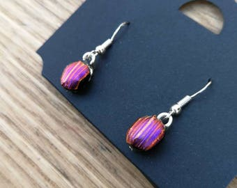Pink, purple and gold dichroic glass drop earrings sterling silver