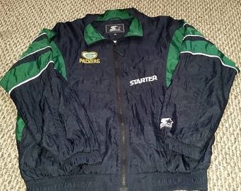 Vintage Green Bay Packers Starter Windbreaker Zip Up Jacket - Size Medium - Black and Green