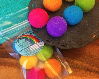 Mini Rainbow Bath Bomb Set Smell the Rainbow! Bath Fizzy Small Bath Bombs