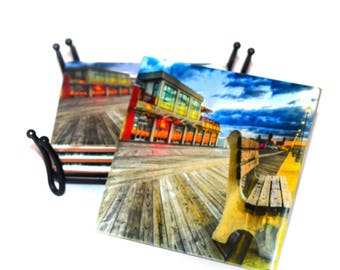 Asbury Park Boardwalk Coasters / Ceramic Tile Drink Coaster(s) / Historical Asbury Park New Jersey / Sold in Set of 4 or Individually