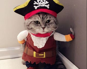 Pirate Pet Shirt Cute Pet Costume. Cat Funny Corsair Clothing for Party Suit Dress-Up. Kitty Outfit Cosplay Muffler Scarf for Persian Sphynx