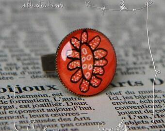 The orange flower * handpainted * ring adjustable oval cabochon with original illustration