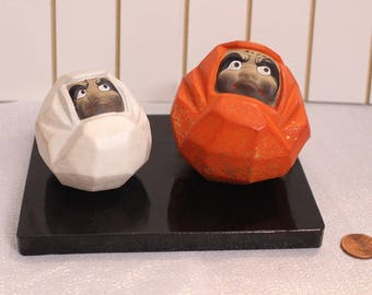 Vintage Japanese Porcelain Dolls Red and White Daruma dolls with Wood Stand Gold Flakes Bodhi