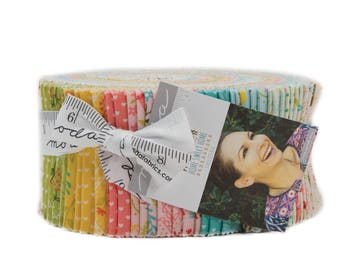 """Home Sweet Home Jelly Roll 40, 2.5"""" strips by Stacy Iest Hsu for Moda,  Bears, Goldilocks fabric, pink, blue, yellow floral fabric strips"""