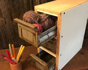 Three small drawer storage organizer. Vintage metal drawers, reclaimed wood cabinet.