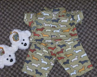 "NEW 16"" Cabbage Patch Doll Clothes~3 pc. Boy's/Boy Puppy Dogs Pajamas/PJ's & Slippers"