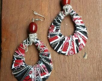 University of SC Wire Wrapped Earrings, Black Earrings, Red Earrings, Black and Red Earrings, USC Jewelry University of South Carolina