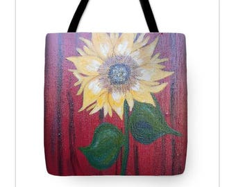 Sunflower Tote Bag, sunflower art  Tote Bag, sunflower art, red and yellow tote