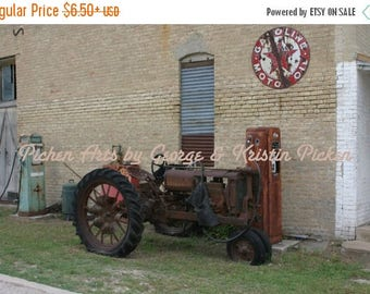Summer Sale Fine Art Old Tractor and Gas Pump With a Texaco Sign