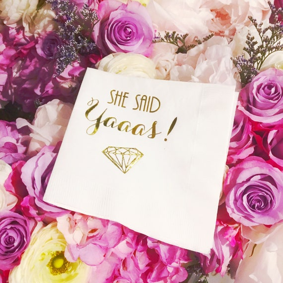 bachelorette party decor, she said yaaas napkins, she said yes napkins, wedding shower party favors, gold foil napkins, bachelorette weekend