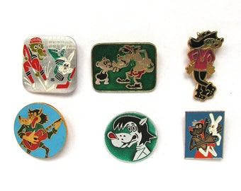Soviet Children's badges, Pick from set, Nu pogodi, Wolf, Hare, Vintage collectible badge, Soviet Vintage Pin, Soviet Union, USSR, 1980s