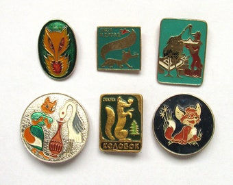 Fox, Tale characters, Soviet Children's badges, Pick from set, Animal, Crane, Kolobok, Vintage collectible badge, Pin, Soviet Union, USSR