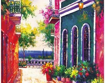 "Puerto Rico, 24""x36"",Old San Juan,Calle Las  Monjas, Canvas print , of, oil painting, Original print, signed by painter,"