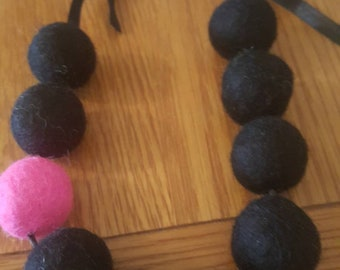 Black and pink felt ball necklace