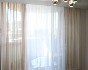 "Pleated Voile Drapery ""Hudson"", Window Sheers, Sheer Curtains, Drapes,  Made-to-Order"