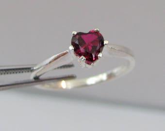 Ruby Heart Ring in Sterling Silver, Ruby Ring, July Birthstone, Lab Grown Ruby Jewelry, Ruby Birthstone, Heart Gemstone Ring
