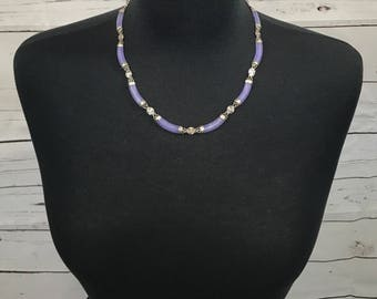 Purple Jade Sterling Silver Necklace