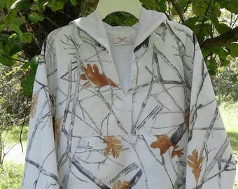 Light weight hoodies.TT Fall White cotton fabric (Shown in pic). #11 in fabric selection  Sizes from NB to size 10. 22 camo colors available