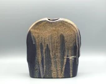 Steuler object 910 designer : Heiner Balzar .  Blue / beige stylish vase,  West Germany Pottery.  WGP.