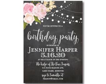 Floral Birthday Invitation, Chalkboard Birthday Invitation, Girl Birthday Invitation, Chalkboard, Floral Birthday Party Invitation #CL104