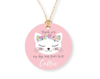 Kitten Party Favor Tags, Kitty, Cat Birthday Girl Printable Tag, Cat birthday Party