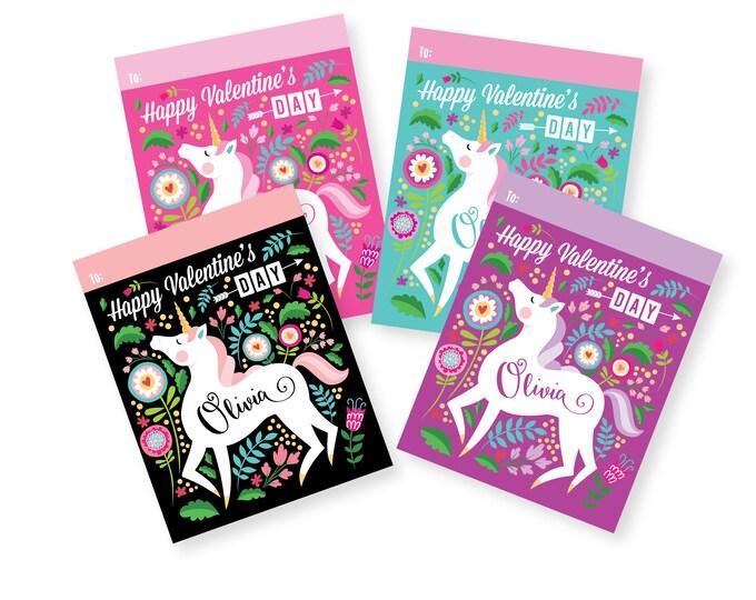Unicorn Valentines Day Cards printable DIY card classroom, Valentine printable custom text, print for kids classroom, Valentine's Unicorn