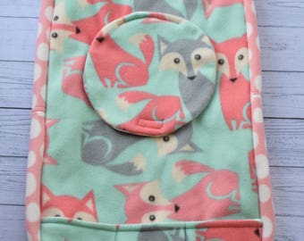 Fox car seat cover, polka dots, Infant, Baby shower gift,nursery,baby girl, bubble gum pink.