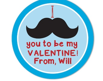 I Moustache You to be my Valentine, Personalized Classroom Valentine Party Favor Stickers for Boys
