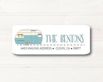 Trailer, Camping, Return Address Label, Custom, MATTE, Retro, RV