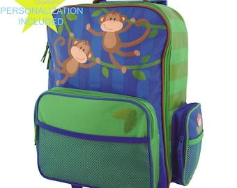 MONKEY Stephen Joseph Classic Rolling Luggage, Kids Luggage, Bookbag.