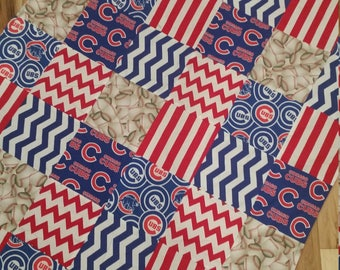 Cubs Nursery Bedding,  Cubs Baby Bedding,  Crib Quilt  and Fitted Sheet