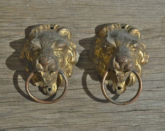 A pair of original antique Regency lions head furniture handles English gilded brass circa.1820 LX1