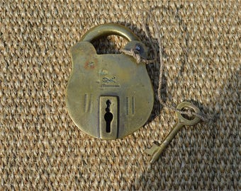 Antique brass padlock nautical lock sea chest sailors box lock with original key