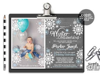 Winter ONEderland Invite Invitation Photo Picture Boy Birthday Party Wonderland One First Wintery Blue White Chalkboard Snowflakes Stars