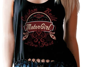 MOTORGIRL fringe tank top,Custom Built, rock 'n' roll, biker, hot rod, tattoo style, motorgirl brand
