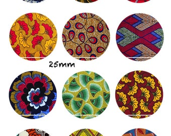 CT290 Wax Africain(1) 12 Images/Dessins/collages/Scrapbooking digitales pour cabochon 30/25/20/18/16/15/14/12/10/8 mm Rond/Carré/Ovale
