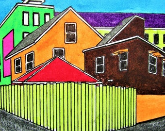 """Chicago Alley #272 (ARTIST TRADING CARDS) 2.5"""" x 3.5"""" by Mike Kraus-aceo art collectibles architecture buildings houses homes city apartment"""