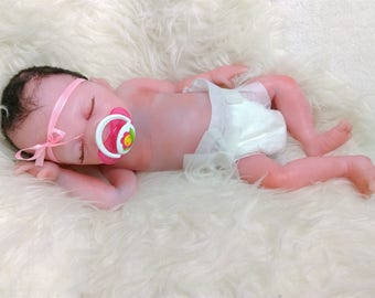 DRINK-WETpreemieGirlMelniaFullbodySiliconeBabyOOAKMagdalena's Art-Baby doll