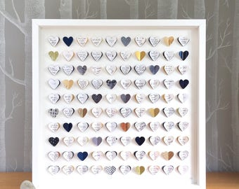Wedding Guest Book framed wall art - navy blue and gold guestbook - 100 hearts - large guest book - wedding guest book alternative.
