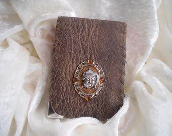 Brown cigarette case, accessory bag, handmade