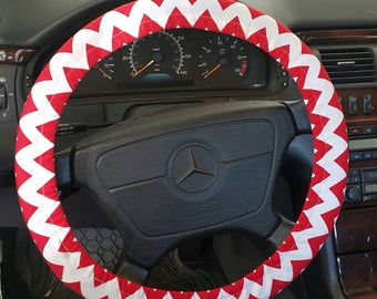 Red and White  Chevron Wheel Cover . Steering Wheel Cover . Car Accessories .