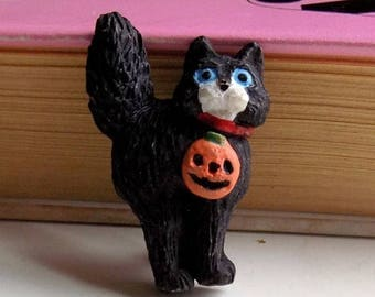 80s Halloween Pin, Black Cat, Jack O Lantern, Pumpkin, Halloween Brooch, 1980s, Russ, 80s Halloween, Seasonal Jewelry, Cat Pin