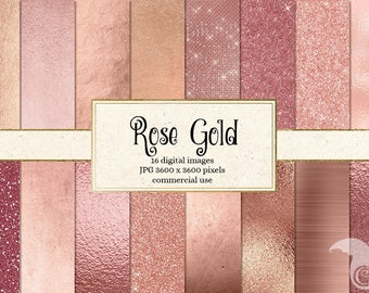 Rose Gold Digital Paper - Rose Gold Textures, Glitter, Gold Foil, Metallic, Brushed Metal Rippled Glass Backgrounds, Instant Download