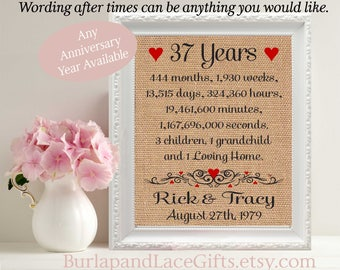 37, 37th Anniversary, 37 Years Together, Years, Months, Weeks, Days, 37th Wedding Anniversary, Gift to Wife, Gift to Husband (ana207-37)