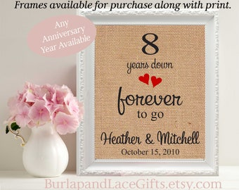 8th Anniversary Gift for Wife Gift for Husband Anniversary birthday Gift for Wife Husband Framed gift Wedding Anniversary burlap linen (208)