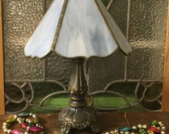 vintage stained glass lamp mini stained glass lamp table lamp blue stained glass