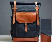 Navy blue wax canvas backpack. Custom order for Alex