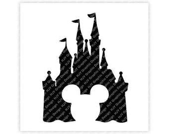 Disney, Castle, Icon, Mickey, Minnie, Head, Ears, Digital, Download, TShirt, Cut File, SVG, Iron on, Transfer